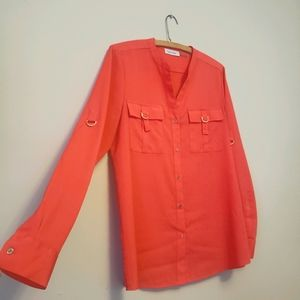 Coral Calvin Button-up Blouse